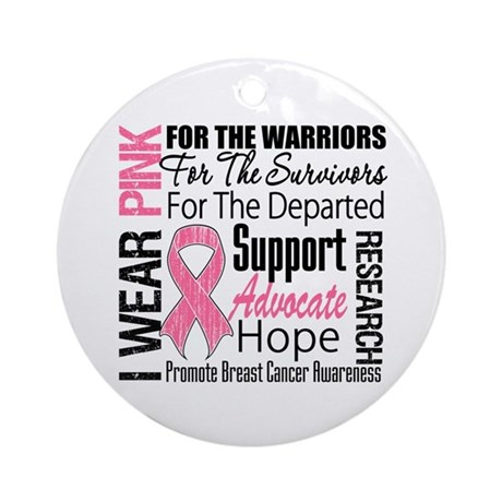 Pink Ribbon Tribute Ornament (Round)