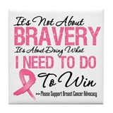 Breast Cancer Bravery Tile Coaster