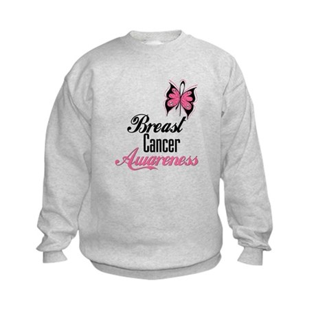 Butterfly Breast Cancer Kids Sweatshirt
