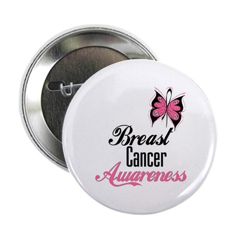 "Butterfly Breast Cancer 2.25"" Button"