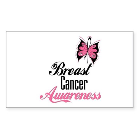 Butterfly Breast Cancer Rectangle Sticker 50 pk)
