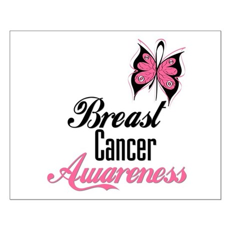 Butterfly Breast Cancer Small Poster