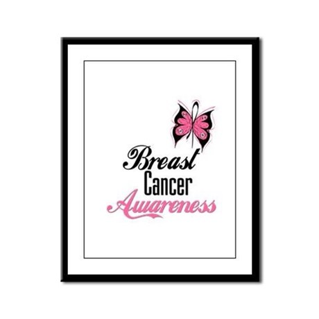 Butterfly Breast Cancer Framed Panel Print