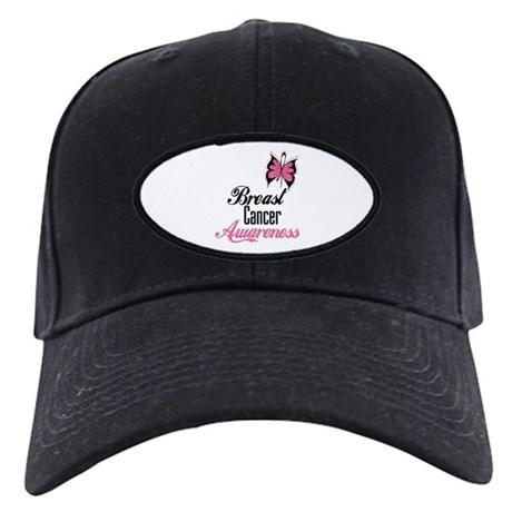Butterfly Breast Cancer Black Cap