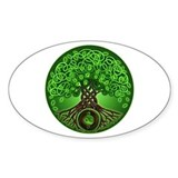 Circle Celtic Tree of Life Oval  Aufkleber