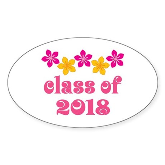 Floral School Class 2018 Oval Sticker