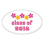 Floral School Class 2018 Oval Sticker (10 pk)
