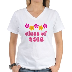 Floral School Class 2018 Women's V-Neck T-Shirt