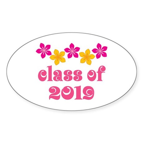 Floral Class Of 2019 Oval Sticker