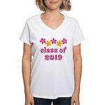 Floral Class Of 2019 Women's V-Neck T-Shirt