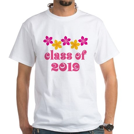 Floral Class Of 2019 White T-Shirt