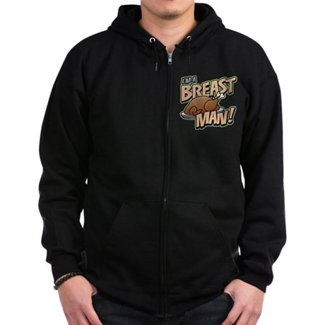 Funny Thanksgiving Breast Zip Hoodie (dark)
