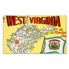 1950's West Virginia Map Rectangle Sticker 50 pk)