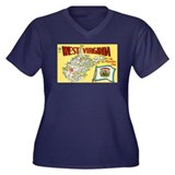 1950's West Virginia Map Women's Plus Size V-Neck