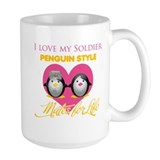 I Love My Soldier Penguin Sty Ceramic Mugs