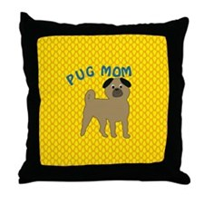 Pug Dog Mom Throw Pillow