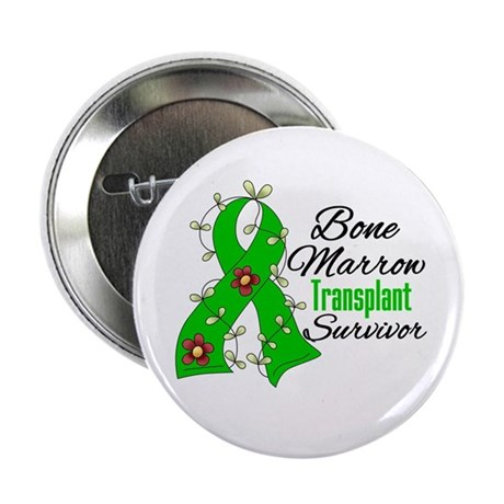 "BMT Survivor Flower Ribbon 2.25"" Button"