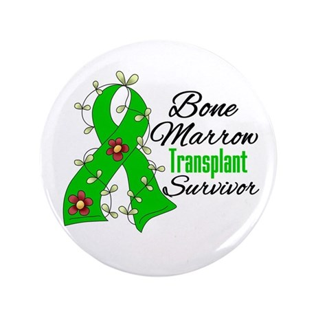 "BMT Survivor Flower Ribbon 3.5"" Button"