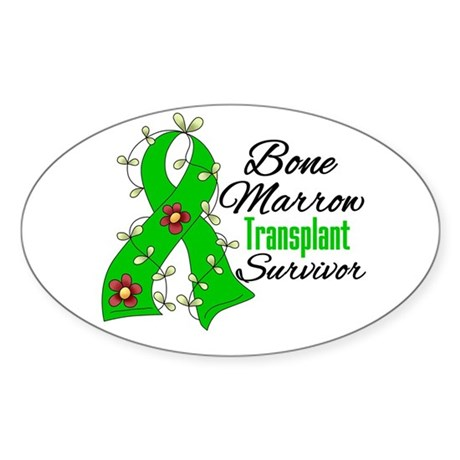 BMT Survivor Flower Ribbon Oval Sticker
