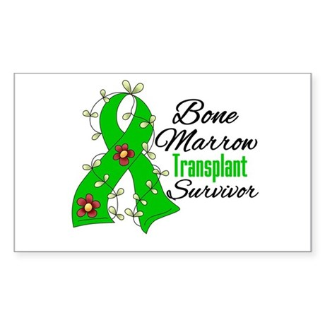 BMT Survivor Flower Ribbon Rectangle Sticker 10 p