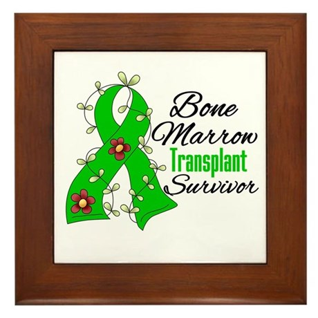 BMT Survivor Flower Ribbon Framed Tile