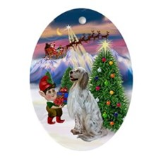 English Setter & Santa's Take Off Oval Ornament