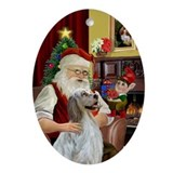 Santa & His English Setter Oval Ornament