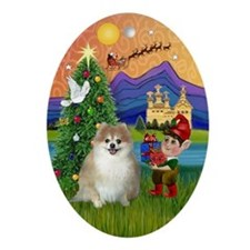 Pomeranian Fantasy Christmas Oval Ornament