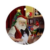 Santa at home with his Papillon Ornament (Round)