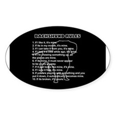 Dachshund Rules Oval Decal