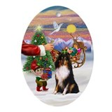 Santa's Treat for his Sheltie Oval Ornament