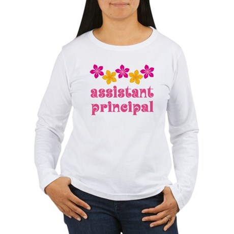 Floral School Principal Women's Long Sleeve T-Shir