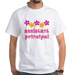Floral School Principal White T-Shirt