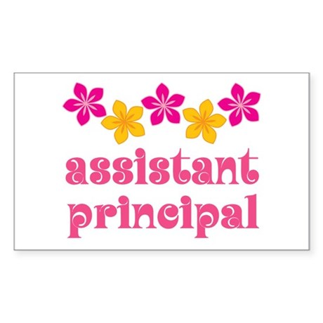 Floral School Principal Rectangle Sticker 50 pk)