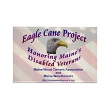 Maine Eagle Cane Rectangle Magnet (100 pack)