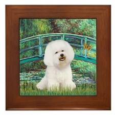 Bichon & Monet's Lily Pond Bridge Framed Tile