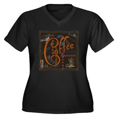 Coffee Spice Women's Plus Size V-Neck Dark T-Shirt