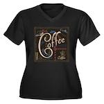 Coffee Mocha Women's Plus Size V-Neck Dark T-Shirt