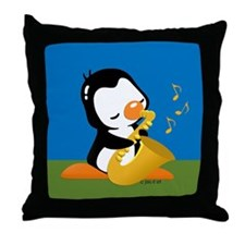 Popo Plays Saxophone Throw Pillow