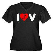 I Heart V Women's Plus Size V-Neck Dark T-Shirt