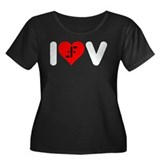 I Heart V Women's Plus Size Scoop Neck Dark T-Shir