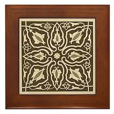 Sepia Floral Framed Tile