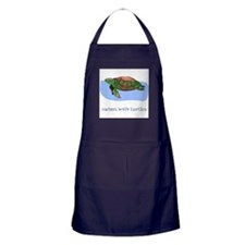 Swims With Turtles Apron (dark)