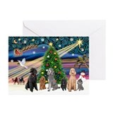 XmasMagic-6 Poodles Greeting Cards (Pk of 20)