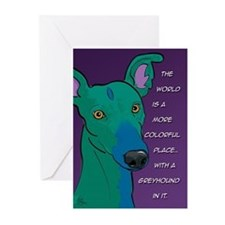 Colorful Greyhound Greeting Cards (Pk of 20)