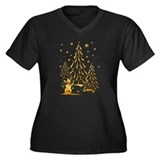 Gold Snowman and Christmas Tr Women's Plus Size V-