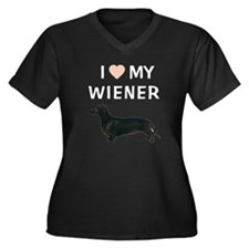 I (HEART) MY WIENER Women's Plus Size V-Neck Dark