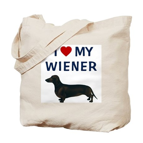 I (HEART) MY WIENER Tote Bag