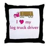 Love my log truck driver Throw Pillow