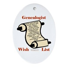 Genealogy Wish List Oval Ornament